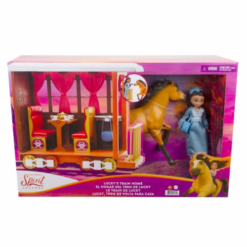 Mattel Spirit Untamed Lucky's Train Home Playset Perspective: front