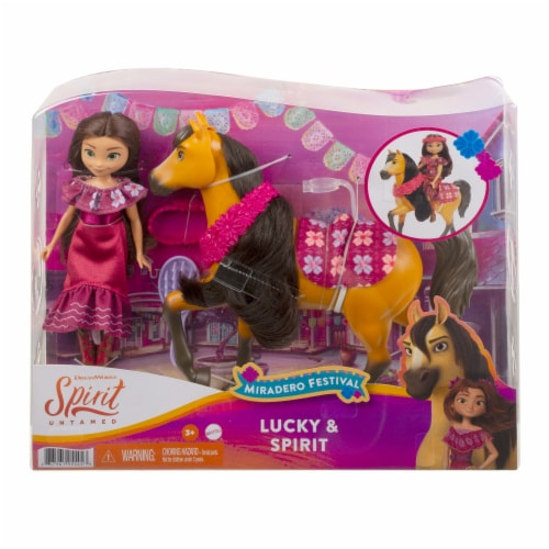Mattel Spirit Untamed Miradero Festival Lucky and Spirit Playset Perspective: front