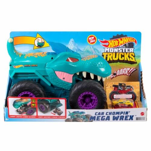 Mattel Hot Wheels Monster Trucks Car Chompin Mega-Wrex Vehicle Perspective: front