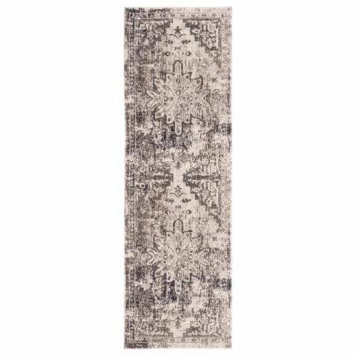 Jaipur Living RUG141260 2ft 6in x 8ft. Isolde Indoor & Outdoor Medallion Runner Rug, Gray Perspective: front