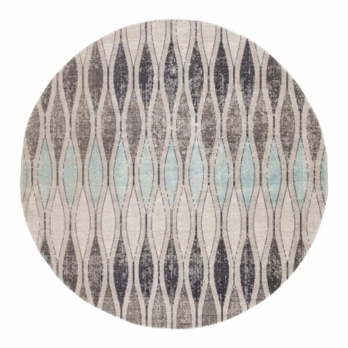 Jaipur Living RUG142719 Norwich Indoor & Outdoor Geometric Round Area Rug, Gray & Blue-7x7 Perspective: front