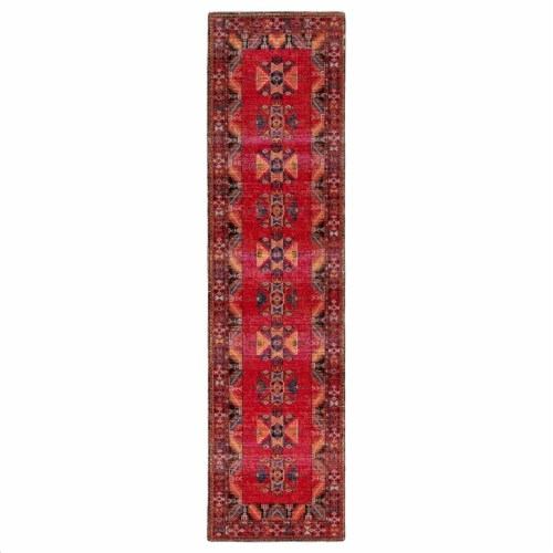 Jaipur Living RUG142953 Paloma Indoor & Outdoor Tribal Runner Rug, Red & Black-2ft 6in x 8ft Perspective: front