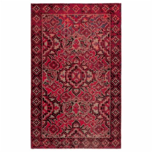 Jaipur Living RUG142990 Chaya Indoor & Outdoor Medallion Area Rug, Red & Black - 7 ft. 6 in. Perspective: front