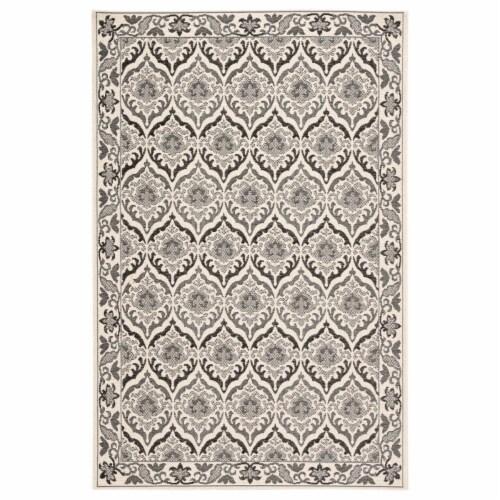 Jaipur Living RUG143344 Laurel Indoor & Outdoor Damask Area Rug, Dark Gray & Cream - 2 ft. x Perspective: front