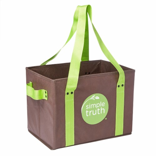 Earthwise Simple Truth Reusable Box Tote - Brown/Green Perspective: front