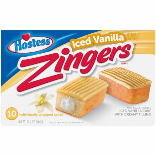 Hostess Iced Vanilla Zingers Snack Cakes Perspective: front