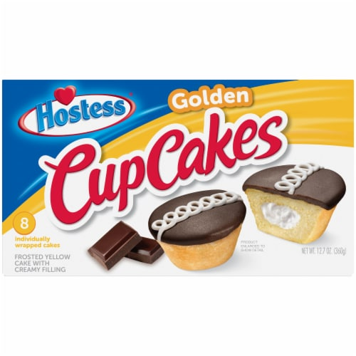 Hostess Golden CupCakes 8 Count Perspective: front