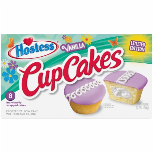 Hostess Spring Limited Edition Vanilla CupCakes Perspective: front