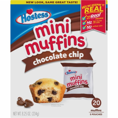 Hostess Chocolate Chip Mini Muffins 20 Count Perspective: front