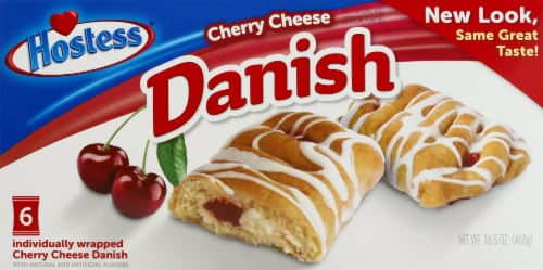 Hostess Cherry Cheese Round Danish 6 Count Perspective: front