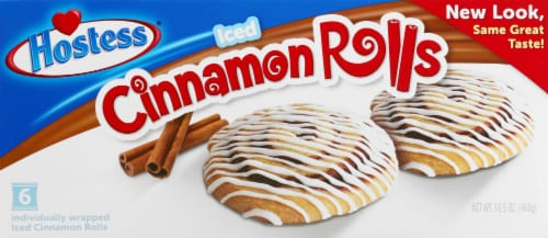 Hostess Iced Cinnamon Rolls 6 Count Perspective: front