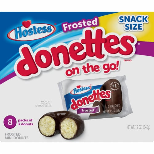 Hostess Snack Pack Frosted Donettes Donuts 8 Count Perspective: front