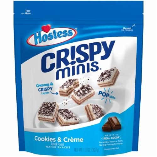 Hostess Crispy Minis Cookies & Creme Wafer Snacks Perspective: front