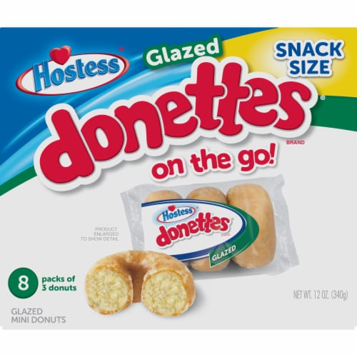 Hostess Glazed Donettes Donuts Perspective: front