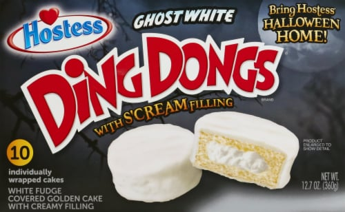 Hostess Ghost White Fudge Ding Dongs Perspective: front