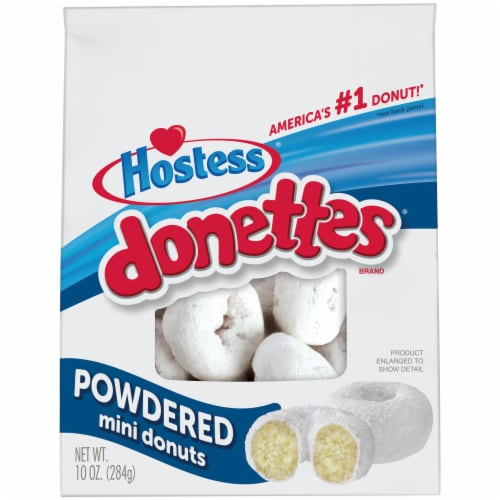 Hostess Donettes Powdered Sugar Mini Donuts Perspective: front