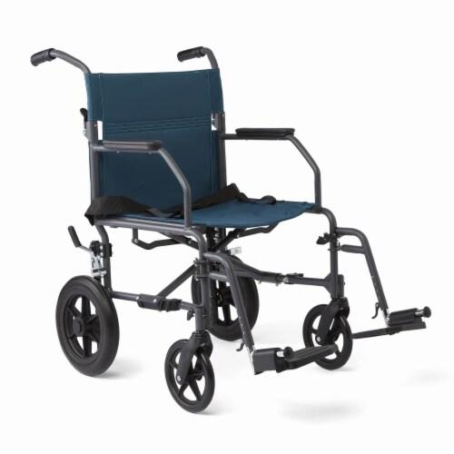 Medline Teal Basic Transport Chair Perspective: front