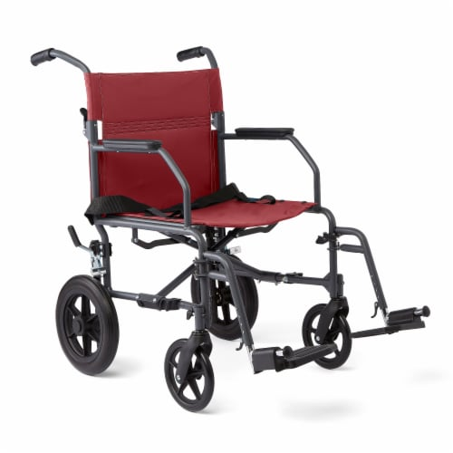 Medline Burgundy Basic Transport Chair Perspective: front