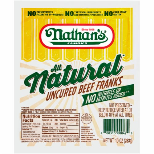 Nathan's Famous All Natural Uncured Beef Franks Perspective: front