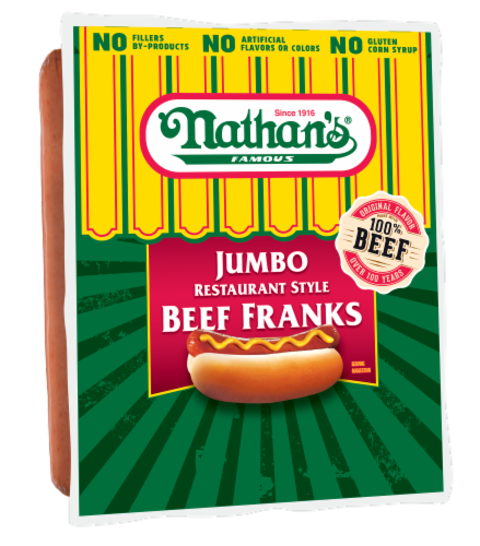 Nathan's Jumbo Restaurant Style Beef Franks 5 Count Perspective: front