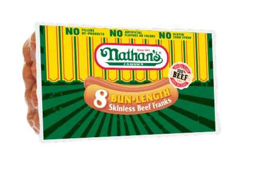 Nathan's Bigger than the Bun Beef Franks 8 Count Perspective: front