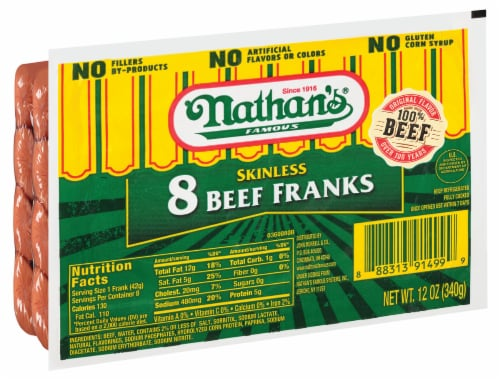 Nathan's Famous Skinless Beef Franks 8 Count Perspective: front