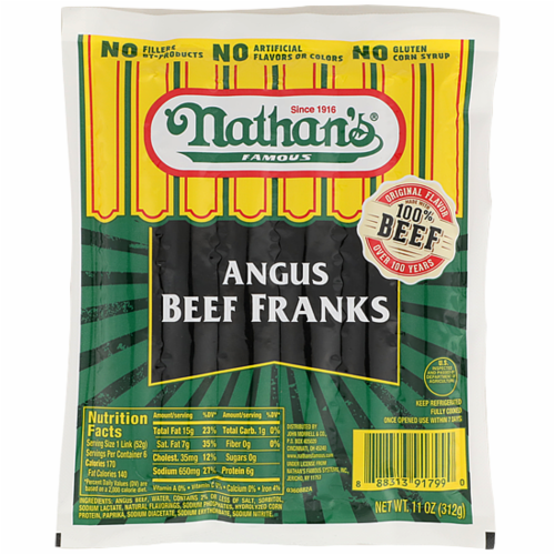 Nathan's Famous Angus Beef Franks 6 Count Perspective: front