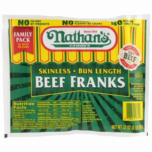 Nathan's Famous Bun Length Beef Franks Perspective: front