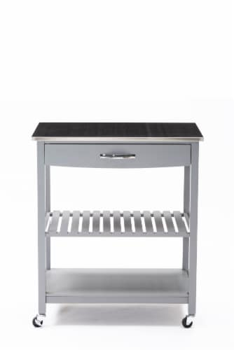 Holland Kitchen Cart With Stainless Steel Top, Gray Perspective: front