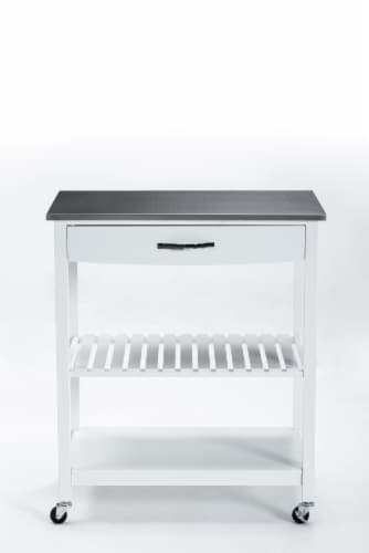 Holland Kitchen Cart With Stainless Steel Top, White Perspective: front