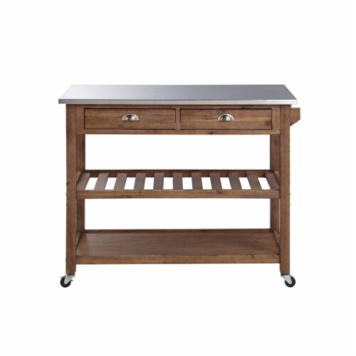 Sonoma Kitchen Cart with Stainless Steel Top [Barnwood Wire-Brush] Perspective: front