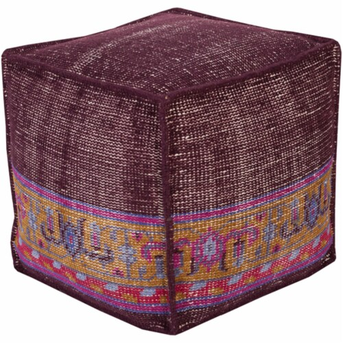 Surya ZHPF-001 Zahara Pouf - 18 x 18 x 18 in. Perspective: front