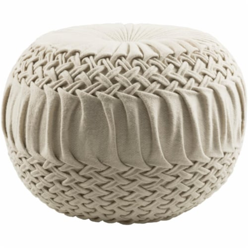Surya AAPF001-181814 Alana Pouf - Cream - 18 x 18 x 14 in. Perspective: front