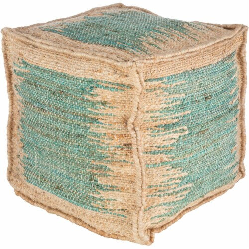 Surya SNPF003-161616 16 x 16 x 16 in. Sonali Removable Cover Pouf, Teal & Khaki Perspective: front