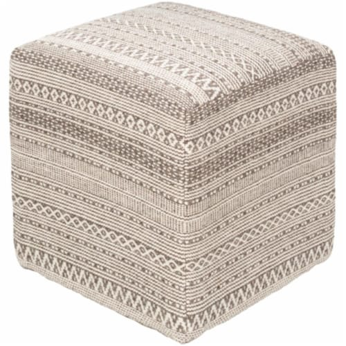 Surya LFPF001-161618 16 x 16 x 18 in. Leif Woven Pouf, Taupe & Ivory Perspective: front