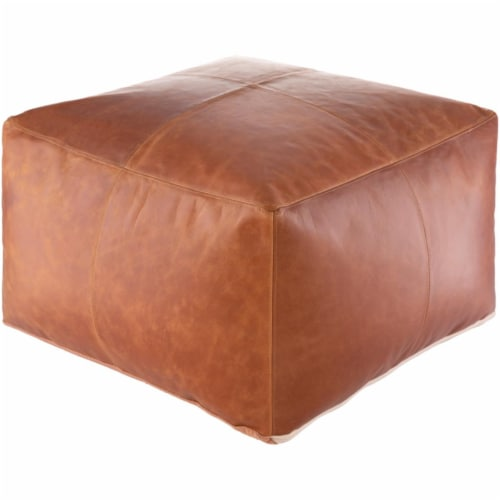 Surya BIPF001-222213 22 x 22 x 13 in. Barrington Removable Cover Pouf, Burnt Orange Perspective: front