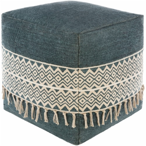 Surya TNPF001-181818 18 x 18 x 18 in. Tanya Removable Cover Pouf, Bright Blue & Cream Perspective: front