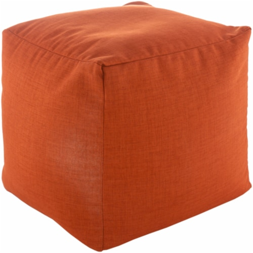 Surya SRPF002-181818 18 x 18 x 18 in. Storm Woven Pouf, Terracotta Perspective: front