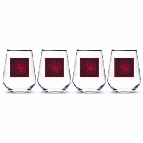 Game of Thrones 888568622557 Targaryen Relief Emblem Stemless Wine Glass - Pack of 4 Perspective: front