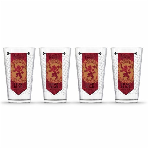 Game of Thrones 888568622564 Lannister Banner Pint Glass - Pack of 4 Perspective: front