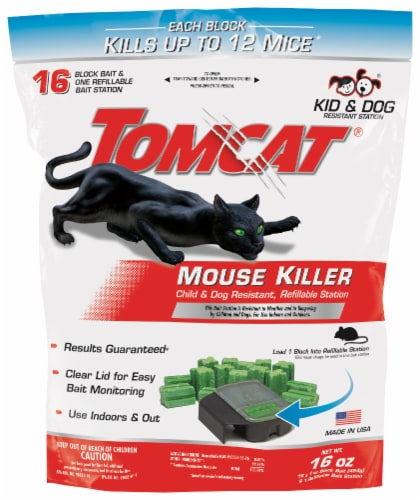 TOMCAT Mouse Killer Bait Station with Refills - Black/Green Perspective: front