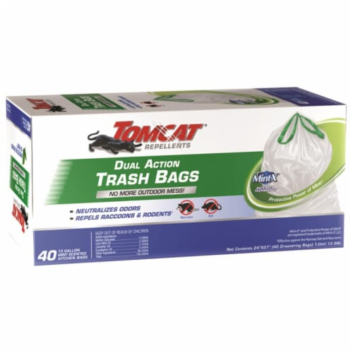 Tomcat Mint X 13 gal. Trash Bags Drawstring 40 pk - Case Of: 1; Each Pack Qty: 40; Total Perspective: front