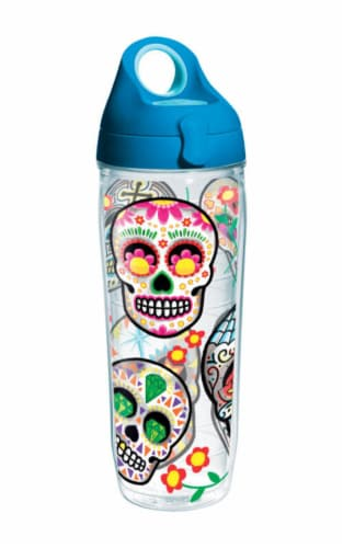 Tervis 24 oz. Sugar Skull Clear BPA Free Water Bottle - Case Of: 1; Each Pack Qty: 1; Perspective: front