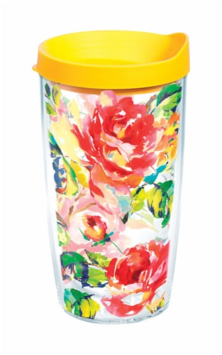 Tervis 888633566946 16 oz Fiesta Rose Pattern Tumbler with Lid Perspective: front