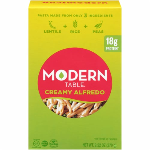 Modern Table Creamy Alfredo Lentil Pasta Meal Kit Perspective: front