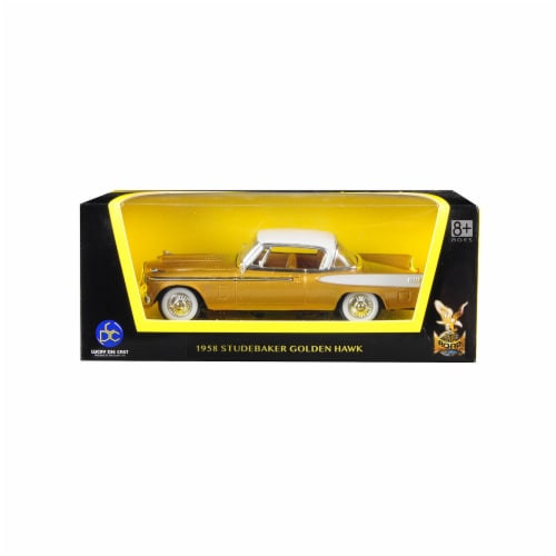 Road Signature 94254gld 1958 Studebaker Golden Hawk Gold & White Top 1-43 Diecast Model Car Perspective: front