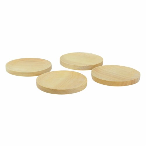 Avon 4.5 in. Wood Wine Glass Appetizer Plates - Set of 4 Perspective: front