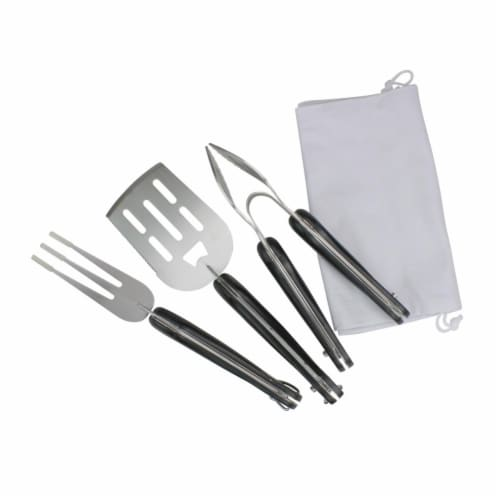 Avon 33537512 18 in. Folding BBQ Tool Set - Black & Silver - Set of 3 Perspective: front