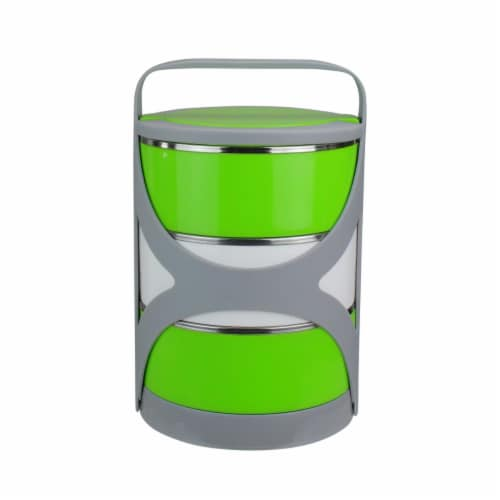 Avon Stacking Food Storage Containers with Carrying Holder, Green & White Perspective: front