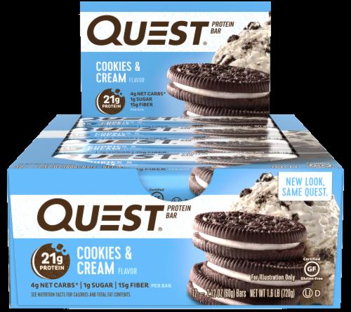 Quest Cookies & Cream Flavor Protein Bars 12 Count Perspective: front